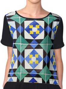 Blue and green patterned tiles, Lisbon Women's Chiffon Top