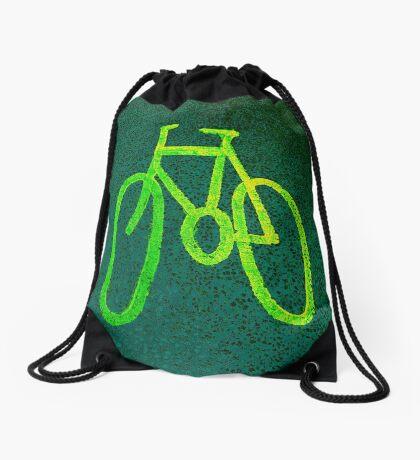 Cycle Lane - Green Drawstring Bag