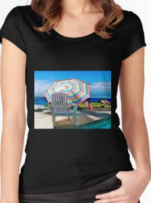 JULY 4TH BY THE POOL Women's Fitted Scoop T-Shirt
