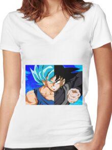 Goku God VS Black Goku Women's Fitted V-Neck T-Shirt