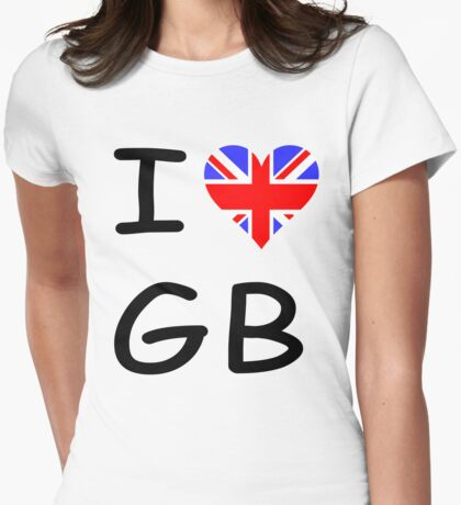 I LOVE GB  Womens Fitted T-Shirt