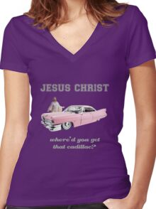 Where'd You Get That Cadillac? Women's Fitted V-Neck T-Shirt