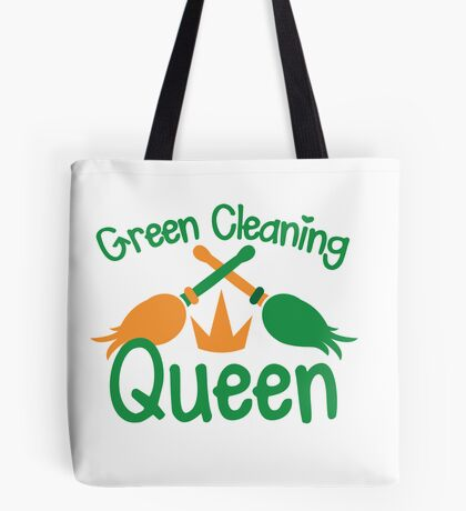 Green cleaning Queen! with feather dusters Tote Bag