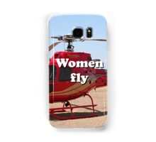 Women fly: Helicopter, red, aircraft Samsung Galaxy Case/Skin