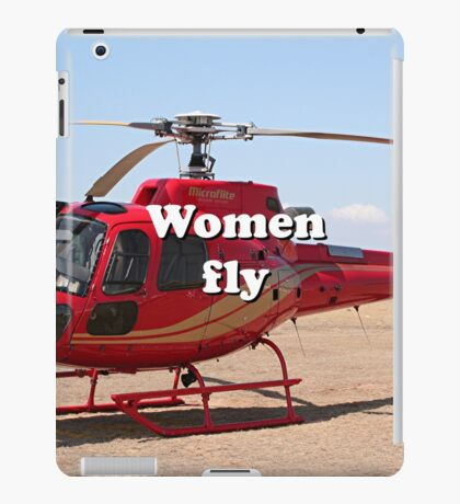 Women fly: Helicopter, red, aircraft iPad Case/Skin