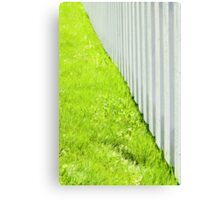 White fence and fresh green grass close-up Canvas Print