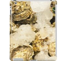 Fresh oysters on ice, seafood close-up iPad Case/Skin