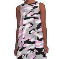 pink black gray and white camo A-Line Dress