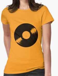 Black Vinyl Disc Womens Fitted T-Shirt