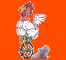 Cartoon Chicken Unicycle Kids Tee