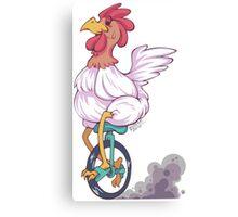 Cartoon Chicken Unicycle Canvas Print