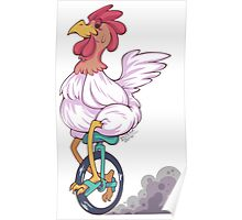 Cartoon Chicken Unicycle Poster