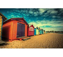 Brighton Beach Huts retro look Photographic Print