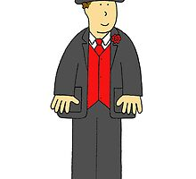 Blank cartoon wedding card with man in top hat and tails and red waistcoat. by KateTaylor