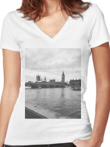 London Grayscale  Women's Fitted V-Neck T-Shirt
