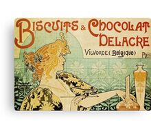 'Biscuits and Chocolat Delacre' by Privat Livemont (Reproduction) Canvas Print