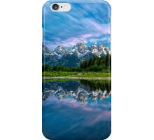 Teton Mountains in Wyoming with Clouds and Reflection iPhone Case/Skin