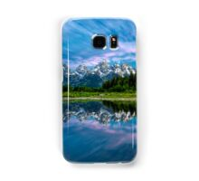 Teton Mountains in Wyoming with Clouds and Reflection Samsung Galaxy Case/Skin