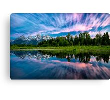 Teton Mountains in Wyoming with Clouds and Reflection Canvas Print