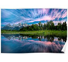 Teton Mountains in Wyoming with Clouds and Reflection Poster