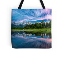 Teton Mountains in Wyoming with Clouds and Reflection Tote Bag