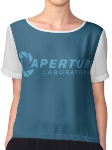 aperture laboratories - light blue Chiffon Top