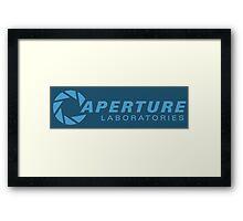 aperture laboratories - light blue Framed Print