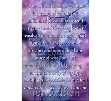 Lucid Dreaming Affirmations Photographic Print