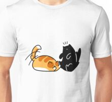 Playful Tabby and Black Cat Unisex T-Shirt