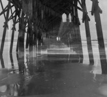 Under the Pier and Beach in Black and White Sticker