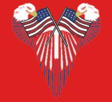Patriotic wing shield +flags Kids Tee