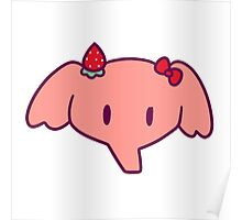 Strawberry Elephant Face Poster