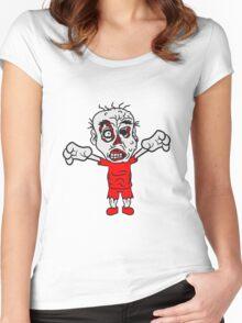 böse ekelig monster horror halloween zombie design  Women's Fitted Scoop T-Shirt