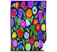 """""""ABSTRACT ART DECO FLOWERS"""" Colorful Print Poster"""
