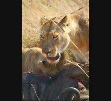 Lions at a Wilderbeest Kill, Maasai Mara, Kenya  Unisex T-Shirt
