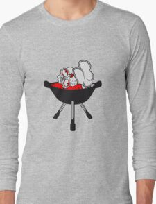blut kopf grillen zombie essen kochen koch chef meister grillen lecker hunger restaurant kochmütze schürze untot horror monster halloween  Long Sleeve T-Shirt