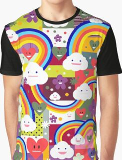 Happy Clouds and Rainbows Graphic T-Shirt