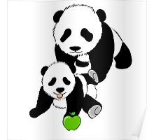 Mother and Baby Panda Bears Poster