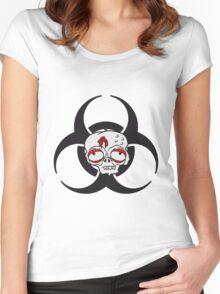 biohazard zeichen symbol traurig müde gelangweilt dumm zombie gesicht kopf untot horror monster halloween  Women's Fitted Scoop T-Shirt