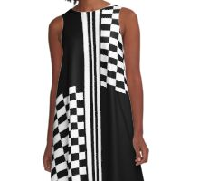 Stylish Black and white check and stripes A-Line Dress