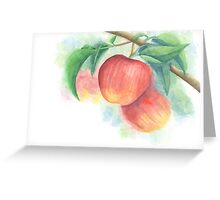 Watercolor Painting of Apples on a Tree with Defocused Background  Greeting Card