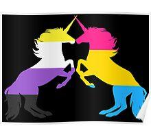 Pansexual Nonbinary Pride Unicorns Poster