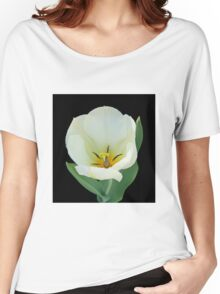 Open White Tulip Women's Relaxed Fit T-Shirt