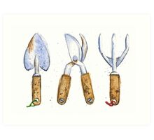 Watercolor Painting of Various Gardening Tools Art Print