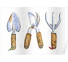 Watercolor Painting of Various Gardening Tools Poster