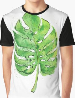 Watercolor Painting of a Philodendron Leaf  Graphic T-Shirt