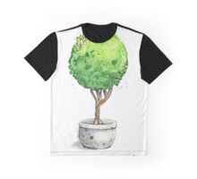 Watercolor Painting of a Green Topiary  Graphic T-Shirt