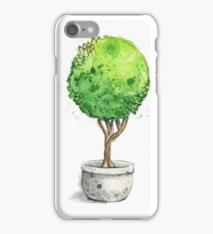 Watercolor Painting of a Green Topiary  iPhone Case/Skin