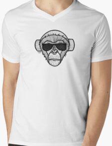 Monkey Headphones Mens V-Neck T-Shirt