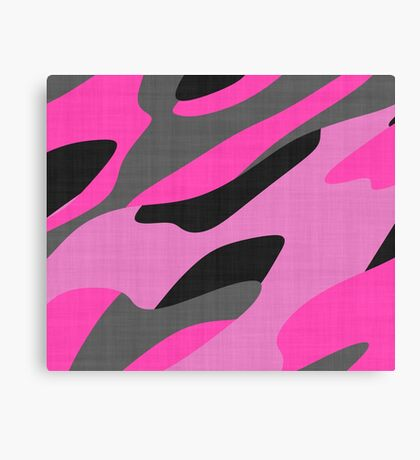 pink and gray camo abstract Canvas Print